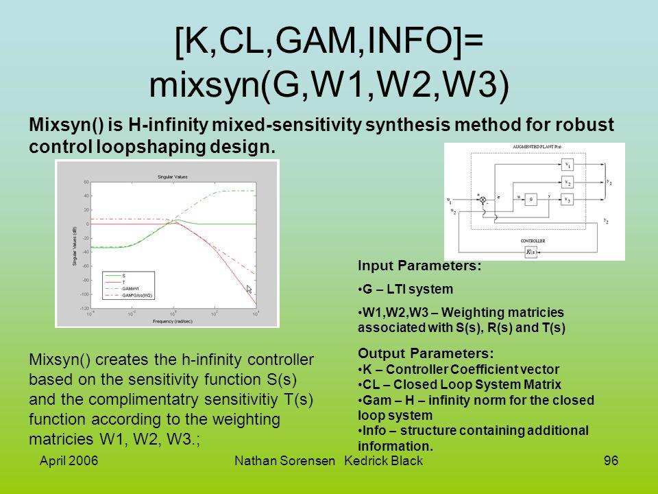 [K,CL,GAM,INFO]= mixsyn(G,W1,W2,W3)